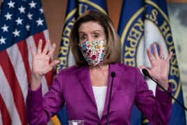 Speaker of the House Nancy Pelosi said Trump should be immediately replaced by Vice President Mike Pence after violent protesters loyal to Trump stormed the US Congress [J Scott Applewhite/AP Photo]