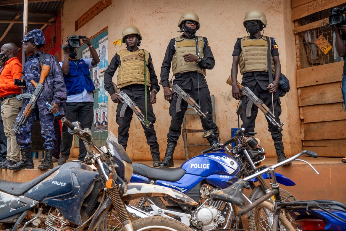 Security forces have been deployed heavily in the area that encompasses Kampala, where the opposition has strong support partly because of rampant unemployment even among college graduates. [Jerome Delay/AP Photo]