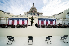 Members of the military band participate in a dress rehearsal for the 59th inaugural ceremony for President-elect Joe Biden and Vice President-elect Kamala Harris at the Capitol, Monday, January 18, 2021, in Washington, DC [Erin Schaff/The New York Times via AP, Pool]