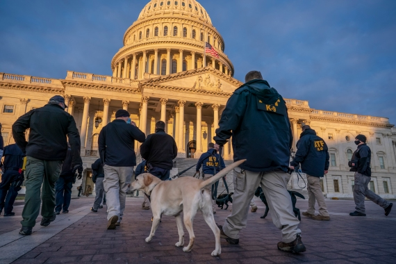 Federal K-9 units prepare for a security sweep in preparation for the inauguration ceremonies on Capitol Hill in Washington, DC on Tuesday, January 19, 2021. [J Scott Applewhite/AP Photo]