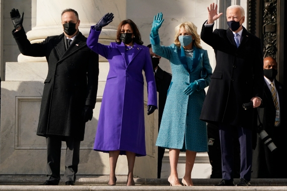 President-elect Joe Biden, his wife Jill Biden and Vice President-elect Kamala Harris and her husband Doug Emhoff arrive at the steps of the US Capitol for the start of the official inauguration ceremonies. [J Scott Applewhite/AP Photo]