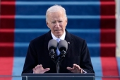 US President Joe Biden speaks during his inauguration at the US Capitol in Washington [Patrick Semansky/AP Photo]