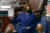 Vice President Kamala Harris swears in Senators Raphael Warnock, Jon Ossoff, and Alex Padilla on the floor of the Senate Wednesday giving Democrats majority control [Senate Television via AP]