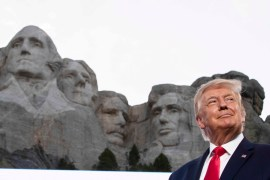 Former President Donald Trump stands at Mount Rushmore National Memorial, near Keystone, South Dakota on July 3, 2020 [File: AP Photo/Alex Brandon]