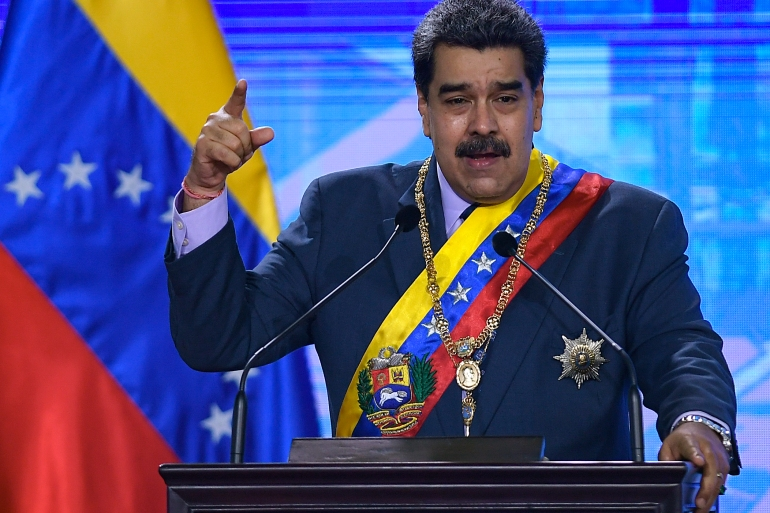 Venezuelan President Nicolas Maduro speaks during a ceremony marking the start of the judicial year at the Supreme Tribunal in Caracas, Venezuela, Friday, January 22, 2021 [Matias Delacroix/AP Photo]