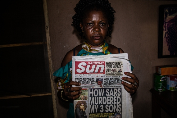 Ukamaka Obasi lost three of her sons, allegedly at the hands of Awkuzu SARS police officers [Chika Oduah/Al Jazeera]