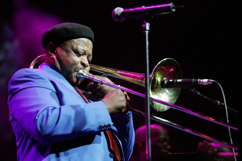 Jonas Gwangwa performs on stage during the Standard Bank Joy of Jazz [File: Lefty Shivambu/Gallo Images]