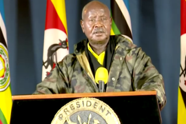 Museveni, dressed in a military jacket, said he was 'sure the government has closed social media' and apologised to Ugandans for what he called an inconvenience [Screengrab/Reuters]