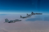 The US conducted six Middle East flyovers with B-52 bombers since November [Courtesy of CENTCOM]