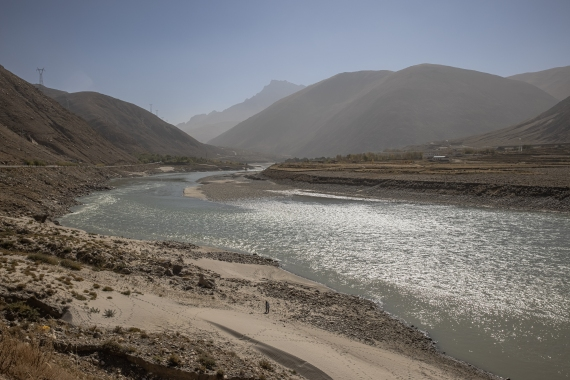 The Yarlung Tsangpo River, more than 100 kilometres (62 miles) from Lhasa. Tibetans believe the river represents the body of the goddess Dorje Pagmo, one of the highest incarnations in Tibetan culture [File: Roman Pilipey/EPA]