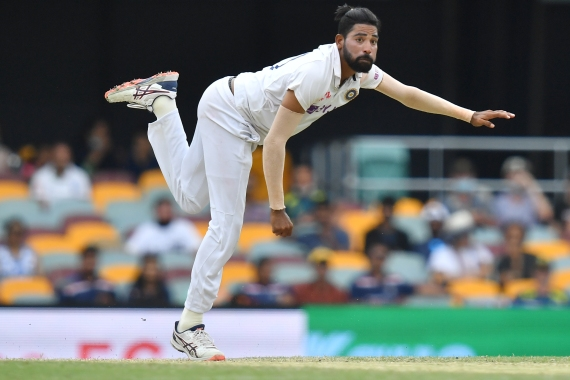 Mohammed Siraj of India in action during day four of the fourth test match between Australia and India at the Gabba in Brisbane [EPA]