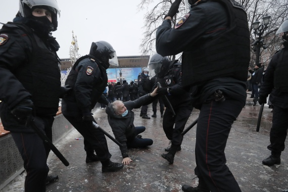 Russian police arrested more than 3,000 people, according to a group that documents political detentions. [Maxim Shipenkov/EPA]