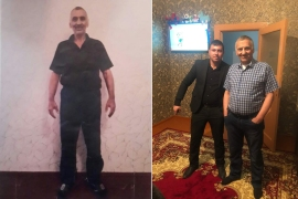 Left: Asgarov pictured in prison, where he lost weight and alleges he was tortured. Right: Asgarov back at home with his son, Kurdoqlu, in Shamkir [Courtesy: Dilgam Asgarov]