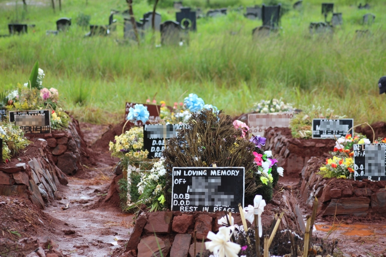 At Harare' Warren Hills cemetery, metal sheets used as makeshift tombstones to identify the graves show that the majority of the deceased died in the first half of the month [Chris Muronzi/Al Jazeera]