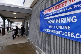 High levels of unemployment in the United States underscore that US President Joe Biden has inherited an economy that faltered this winter as coronavirus cases spiked, cold weather restricted dining and federal rescue aid expired [File: Charles Krupa/AP Photo]