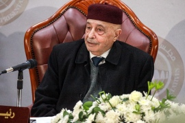 Aguila Saleh Issa, the speaker of the Tobruk-based Libyan House of Representatives, meets officials of the Benghazi-based administration in the eastern Libyan city on December 6, 2020 [File: Abdullah Doma/AFP]