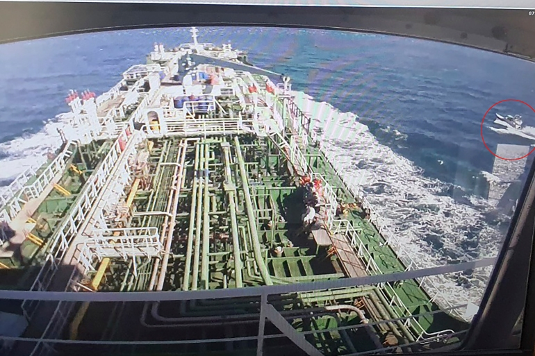 CCTV footage shows the Hankuk Chemi, a South Korean-flagged oil tanker, captured by Iran's Revolutionary Guard Corps [Yonhap via AFP]