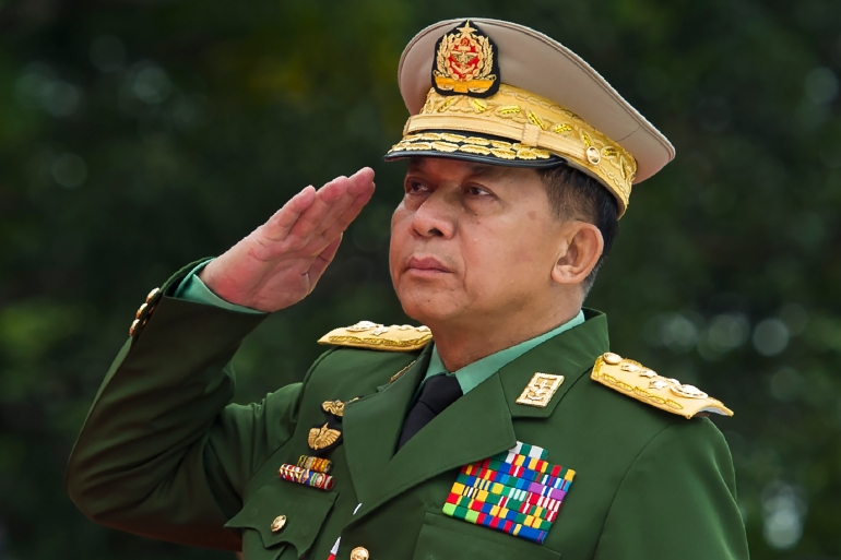 Min Aung Hlaing was appointed as commander-in-chief in 2011 as Myanmar began a transition to civilian government after five decades of military rule [File: Ye Aung Thu/ AFP]
