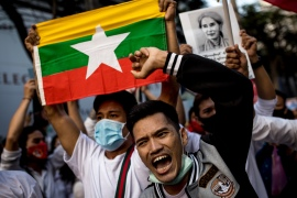 Protesters take part in a demonstration against the Myanmar military coup outside the Myanmar Embassy in Bangkok on February 7, 2021 [Jack Taylor/AFP]