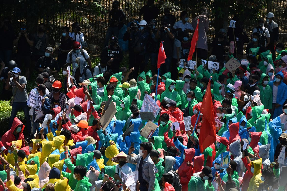 The protesters are demanding that power be restored to the deposed civilian government led by Aung San Suu Kyi's NLD. [Sai Aung Main/AFP]