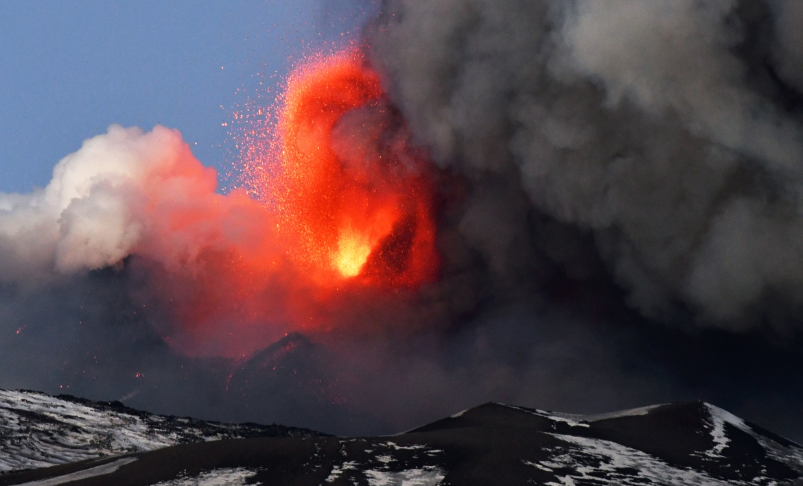 This week's eruption originated from Etna's southeastern crater. [Handout: ANSA via AFP]