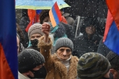 Demonstrations against Pashinyan erupted in November in the wake of the Nagorno-Karabakh conflict [Karen Minasyan/AFP]