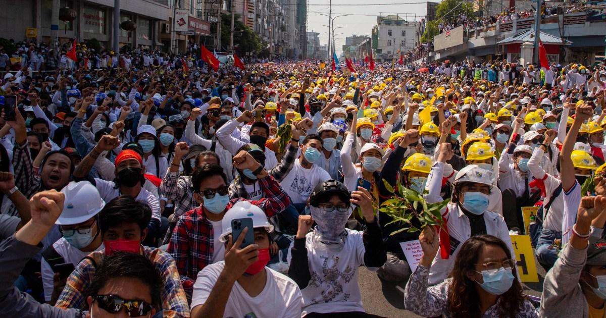 www.aljazeera.com: Protesters rally, businesses close in strike against Myanmar coup