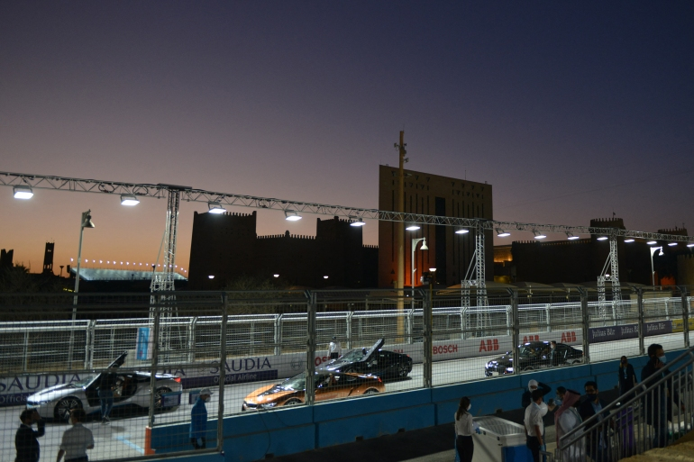 Cars are parked on the track on the second day of Diriyah E-Prix, in the Saudi capital Riyadh on February 26, 2021 [Fayez Nureldine/ AFP]