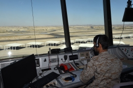 A picture taken in 2015 shows a Saudi air traffic controller sitting in the control tower at the Khamis Mushayt military air base [File:AFP]