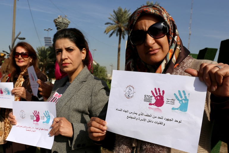 Iraqi women protest violence against women in the capital Baghdad [File: Sabah Arar/AFP]