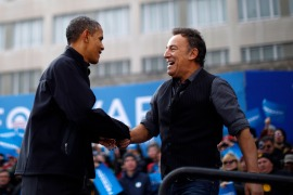 Higher Ground Productions, Barack and Michelle Obama's production company, announced another new show with Bruce Springsteen for Spotify called Renegades: Born in the USA [File: Jason Reed/Reuters]