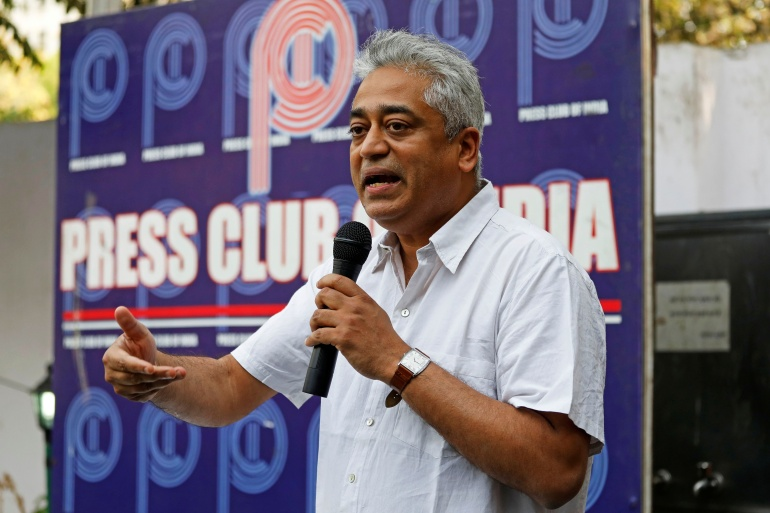 Rajdeep Sardesai, consulting editor and journalist at the India Today Group, addresses a group of journalists at the Press Club of India in New Delhi [File: Saumya Khandelwal/Reuters]