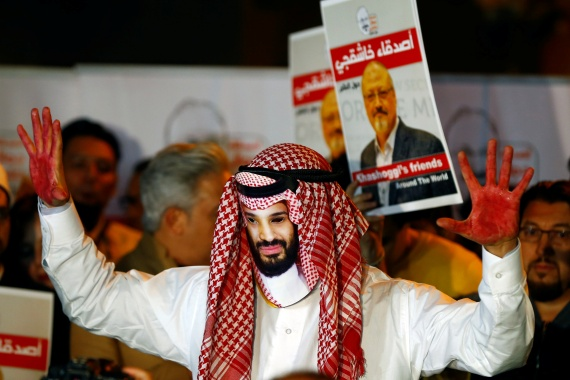 A demonstrator wearing a mask of Saudi Crown Prince Mohammed bin Salman attends a protest outside the Saudi Arabia consulate where the Saudi journalist Jamal Khashoggi was last seen in Istanbul, Turkey on October 25, 2018 [File: Reuters/Osman Orsal]