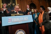 Democratic leaders including Senator Majority Leader Chuck Schumer and House of Representatives Speaker Nancy Pelosi cheer as they introduce the Equality Act on March 13, 2019 [File: Leah Millis/Reuters]