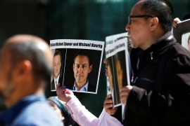 The new declaration was the result of a campaign to free Canadians Michael Kovrig and Michael Spavor from Chinese prison. The two were arrested in apparent retaliation for the arrest days of Chinese tech executive Meng Wanzhou [File: Lindsey Wasson/Reuters]