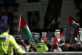 Pro-Palestine protesters gather outside Downing Street in London, UK on September 5, 2019 [File: Reuters/Henry Nicholls]