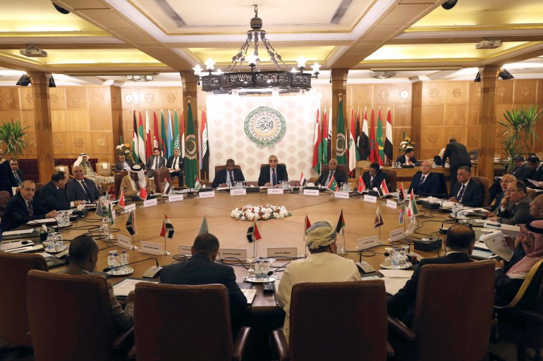 Permanent representatives of the Arab League take part in an emergency meeting to discuss Turkey's plans to send military troops to Libya, at the League's headquarters in Cairo on December 31, 2019 [File: Reuters/Mohamed Abd El Ghany]