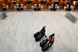 A view of an almost empty Copenhagen Airport, where there usually are 83.000 travellers a day, during the outbreak of the coronavirus disease [File: Ritzau Scanpix/Liselotte Sabroe via Reuters]