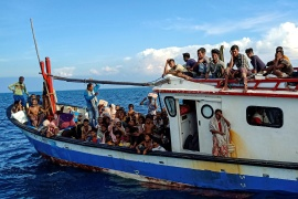 Rohingya take to sea in overcrowded wooden boats to try and get to Malaysia and Indonesia. The UNHCR says it has received reports of a boat adrift in the Andaman Sea and is urging governments to mount a rescue mission [File: Antara Foto/Rahmad/via Reuters]