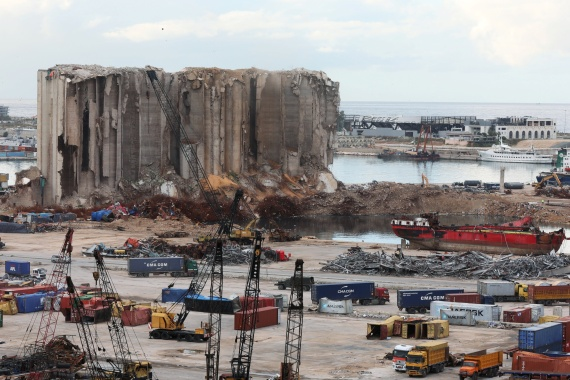 The site of the August 4th explosion is shown at Beirut port, Lebanon in December 2020 [File: Mohamed Azakir/Reuters]