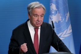 UN Secretary-General Antonio Guterres opened the UNHCR's session, which will mostly be held online due to the pandemic [File: Michael Sohn/Pool via Reuters]