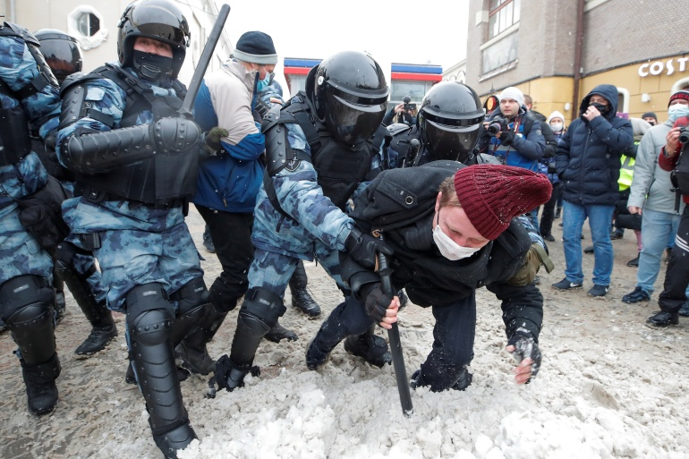 Protests sparked by the jailing of leading opposition figure Alexey Navalny have swept across Russia, drawing a forceful response from the Kremlin [File: Maxim Shemetov/Reuters]