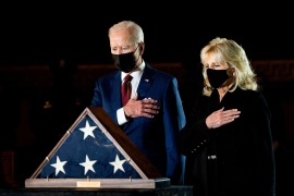 President Joe Biden and first lady Jill Biden pay their respects to late Capitol Police Officer Brian Sicknick [Erin Schaff/Pool via Reuters]