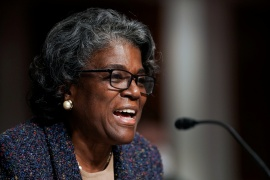 Linda Thomas-Greenfield takes over as the US ambassador to the United Nations as the Biden administration seeks to restore the US global leadership [File: Greg Nash/Pool via Reuters]