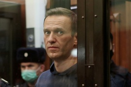 Navalny was jailed on Tuesday for almost three years over alleged parole violations of a suspended sentence linked to a 2014 embezzlement case [File: Press service of Simonovsky District Court/Handout via Reuters]