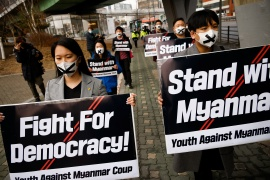 People march towards the Myanmar embassy during a protest in solidarity with Myanmar democracy in Seoul, South Korea. [Kim Hong-Ji/Reuters]