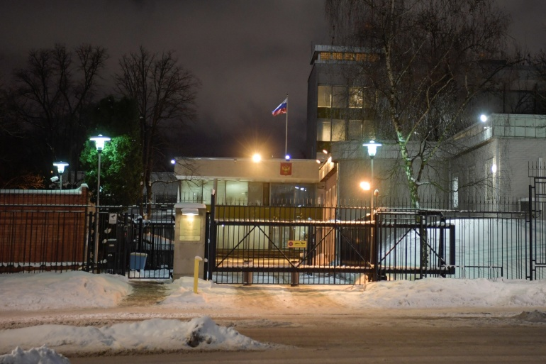 A general view of the Russian embassy in Stockholm [File: TT News Agency/Janerik Henriksson via Reuters]