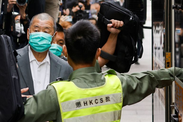 Media mogul Jimmy Lai, founder of Apple Daily, leaves the Court of Final Appeal by prison van in Hong Kong, China February 9, 2021 [Tyrone Siu/ Reuters]