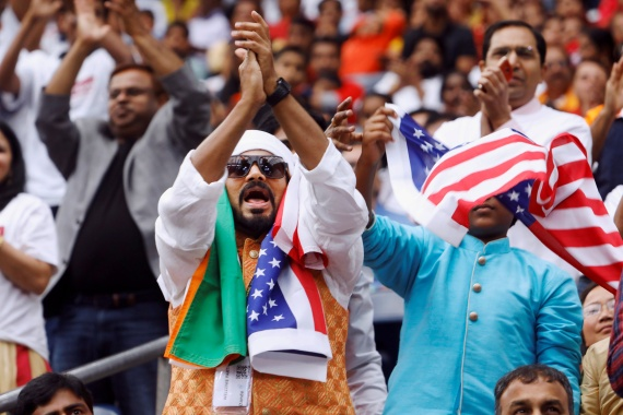 Indian Americans are the second-largest immigrant group in the United States, and turned out in huge numbers in 2019 for the Howdy Modi rally in Houston, Texas, the US [File: Daniel Kramer/Reuters]