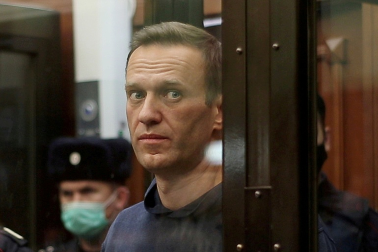 Navalny, 44, has been imprisoned in Russia since being arrested upon returning to the country on January 17 from the German capital, Berlin [File: Press service of Simonovsky District Court/Handout via Reuters]